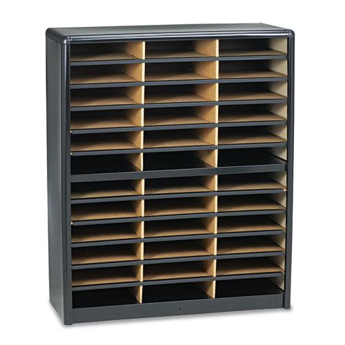 Steel/Fiberboard Literature Sorter, 36 Sections, 32 1/4 x 13 1/2 x 38, Black. Picture 2