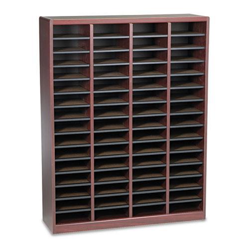 Wood/Fiberboard E-Z Stor Sorter, 60 Slots, 40x11 3/4x52 1/4, Mahogany, 2 Boxes. Picture 1