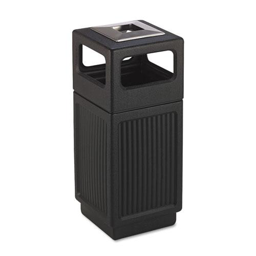 Canmeleon Ash/Trash Receptacle, Square, Polyethylene, 15 gal, Textured Black. Picture 1