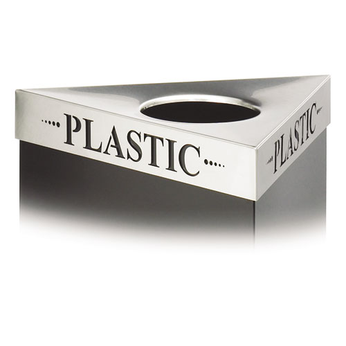 """Triangular Lid For Trifecta Receptacle, Laser Cut """"PLASTIC"""" Inscription, STST. Picture 1"""