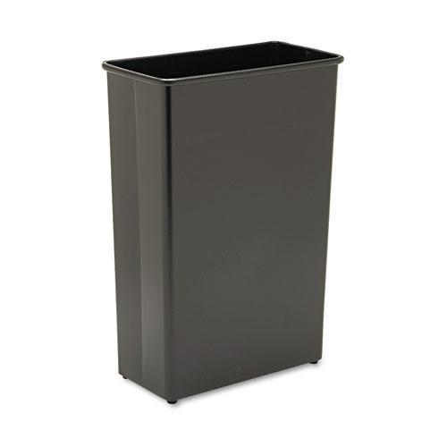 Rectangular Wastebasket, Steel, 22 gal, Black. Picture 1