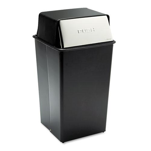 Reflections Push Top Square Receptacle, Steel, 36 gal, Black/Chrome. Picture 1