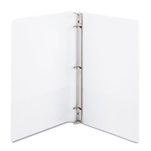 "Clean Touch Locking Round Ring View Binder Protected w/Antimicrobial Additive, 3 Rings, 0.5"" Capacity, 11 x 8.5, White"