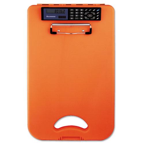 """DeskMate II w/Calculator, 1/2"""" Clip Cap, 8 1/2 x 12 Sheets, Hi-Vis Orange. Picture 3"""