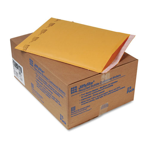 Jiffylite Self-Seal Bubble Mailer, #6, Barrier Bubble Lining, Self-Adhesive Closure, 12.5 x 19, Golden Brown Kraft, 25/Carton. Picture 1