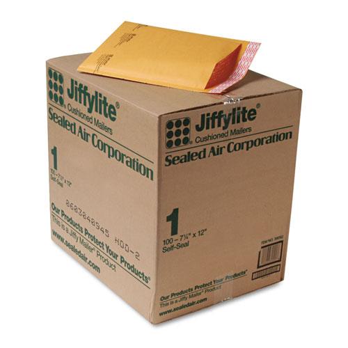 Jiffylite Self-Seal Bubble Mailer, #1, Barrier Bubble Lining, Self-Adhesive Closure, 7.25 x 12, Golden Kraft, 100/Carton. Picture 1