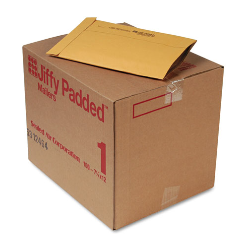 Jiffy Padded Mailer, #1, 7 1/4 x 12, Natural Kraft, 100/Carton