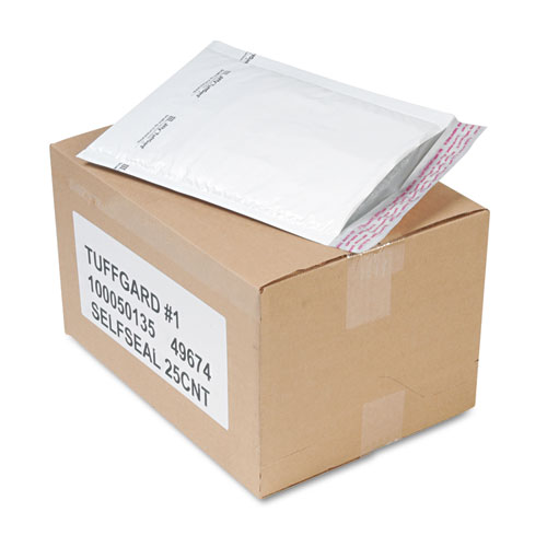 Jiffy TuffGard Self-Seal Cushioned Mailer, #1, Barrier Bubble Lining, Self-Adhesive Closure, 7.25 x 12, White, 25/Carton. Picture 1