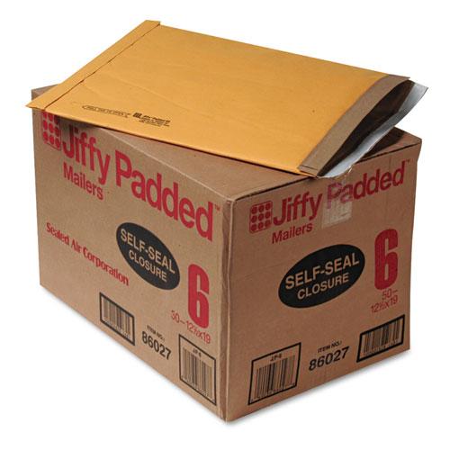 Jiffy Padded Mailer, #6, Paper Lining, Self-Adhesive Closure, 12.5 x 19, Natural Kraft, 50/Carton. Picture 1