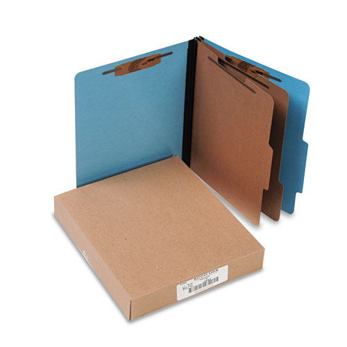 ColorLife PRESSTEX Classification Folders, 2 Dividers, Letter Size, Light Blue, 10/Box. Picture 1