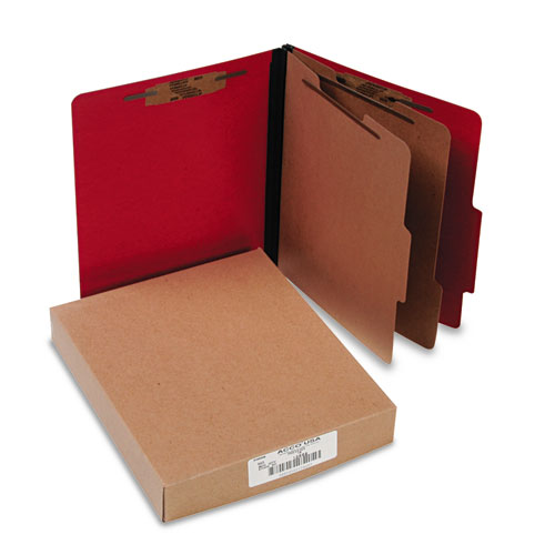 ColorLife PRESSTEX Classification Folders, 2 Dividers, Letter Size, Executive Red, 10/Box. Picture 1
