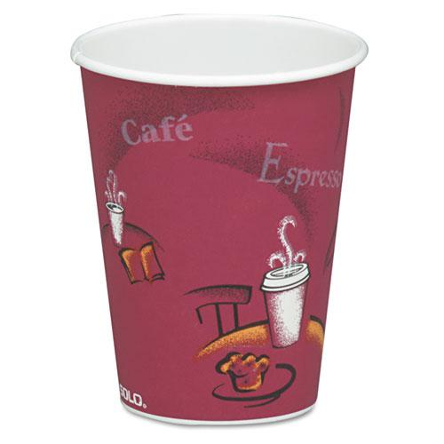 Solo Bistro Design Hot Drink Cups, Paper, 8oz, Maroon, 50/Pack. Picture 1