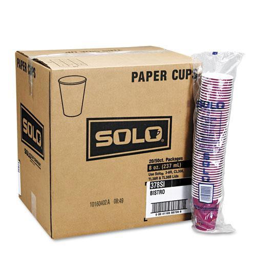 Solo Bistro Design Hot Drink Cups, Paper, 8oz, Maroon, 50/Bag, 20 Bags/Carton. Picture 2
