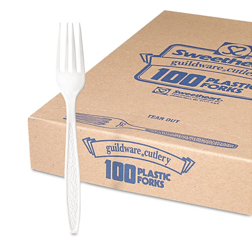 Guildware Heavyweight Plastic Forks, White, 100/Box, 10 Boxes/Carton. Picture 2