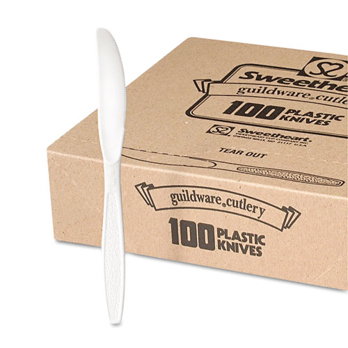 Guildware Heavyweight Plastic Knives, White, 100/Box, 10 Boxes/Carton. Picture 2