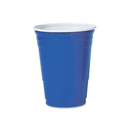 Solo Plastic Party Cold Cups, 16oz, Blue, 50/Pack. Picture 1