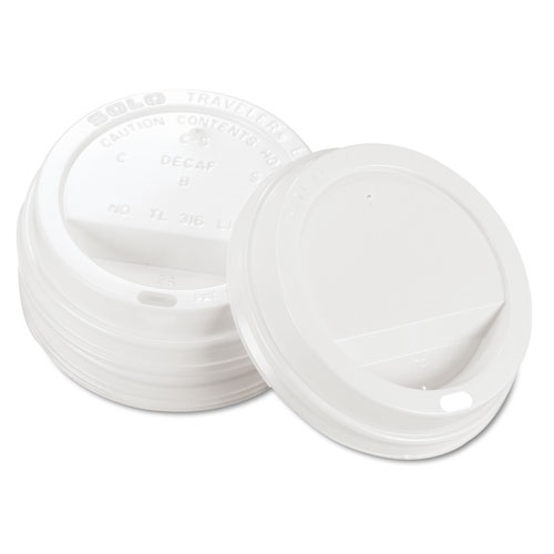 Traveler Drink-Thru Lid, Fits 12-16 oz Cups, White, 1000/Carton. Picture 2