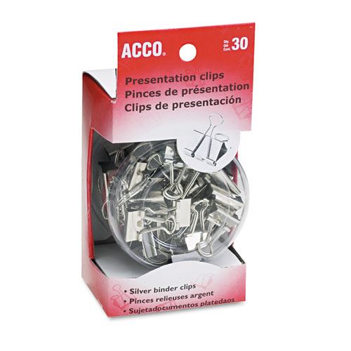 Presentation Clips, Assorted Sizes, Silver, 30/Box. Picture 1