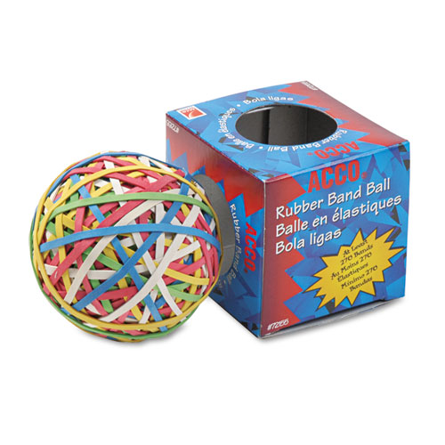 """Rubber Band Ball, 3.25"""" Diameter, Size 34, Assorted Gauges, Assorted Colors, 270/Pack. Picture 1"""