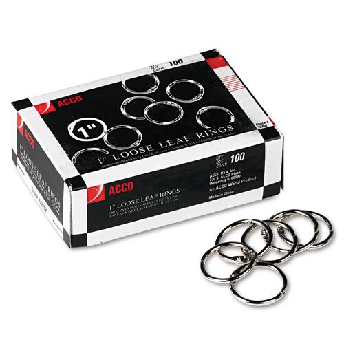 """Metal Book Rings, 1"""" Diameter, 100 Rings/Box. Picture 1"""