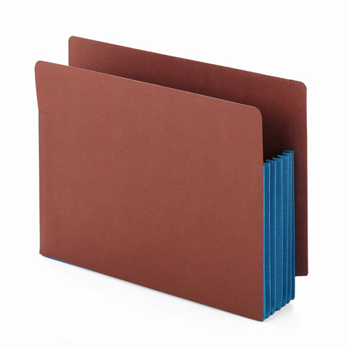 """Redrope Drop-Front End Tab File Pockets w/ Fully Lined Colored Gussets, 5.25"""" Expansion, Letter Size, Redrope/Blue, 10/Box. Picture 2"""