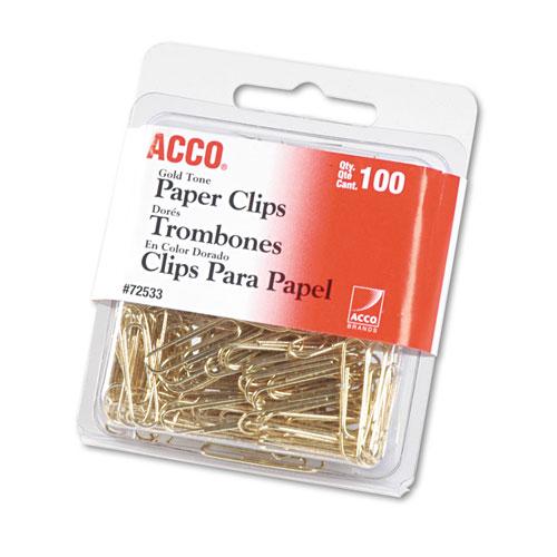 Gold Tone Paper Clips, Small (No. 2), Gold Tone, 100/Box. Picture 1