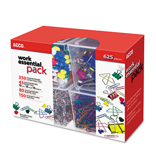 350 Paper Clips, 150 Push Pins, 80 Butterfly Clips and 45 Binder Clips, Assorted. Picture 1
