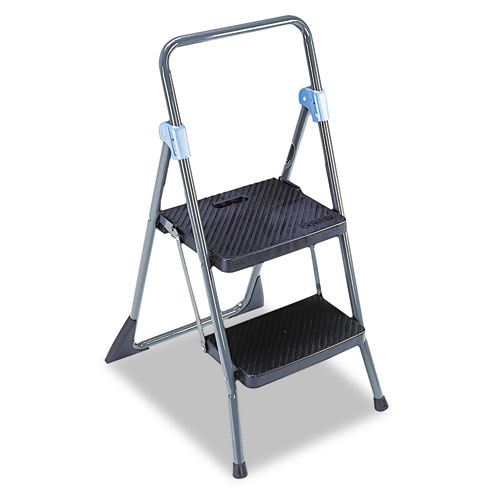 Commercial 2-Step Folding Stool, 300 lb Capacity, 20.5w x 24.75d x 39.5h, Gray. Picture 2