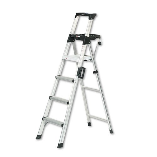 Signature Series Aluminum Step Ladder, 6 ft Working Height, 300 lbs Capacity, 4 Step, Aluminum. Picture 1