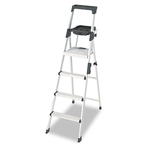 Signature Series Aluminum Step Ladder, 6 ft Working Height, 300 lbs Capacity, 4 Step, Aluminum. Picture 2