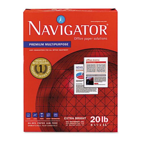 Premium Multipurpose Copy Paper, 97 Bright, 20lb, 8.5 x 11, White, 500 Sheets/Ream, 10 Reams/Carton. Picture 1