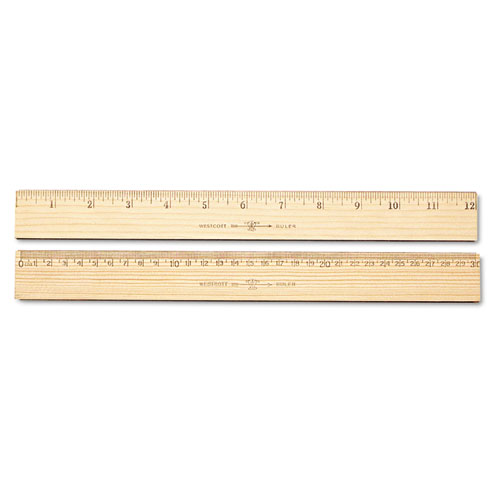 "Wood Ruler, Metric and 1/16"" Scale with Single Metal Edge, 30 cm. Picture 1"