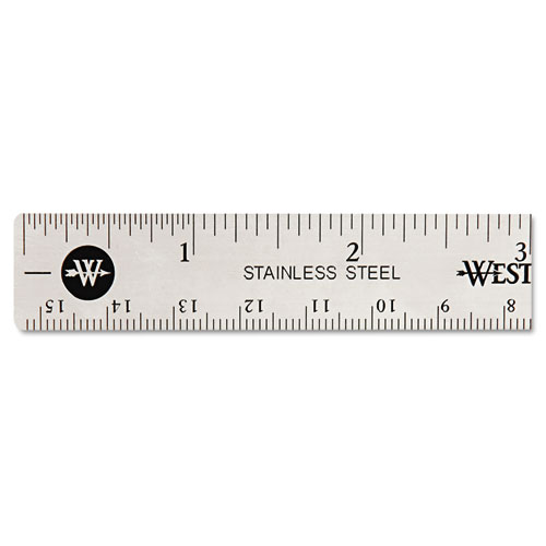 """Stainless Steel Office Ruler With Non Slip Cork Base, 6"""". Picture 1"""