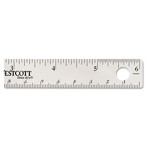 """Stainless Steel Office Ruler With Non Slip Cork Base, 6"""". Picture 2"""