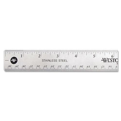 """Stainless Steel Office Ruler With Non Slip Cork Base, 12"""". Picture 1"""