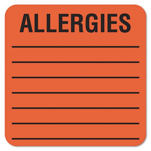 Allergy Warning Labels, ALLERGIES, 2 x 2, Fluorescent Red, 500/Roll. Picture 1