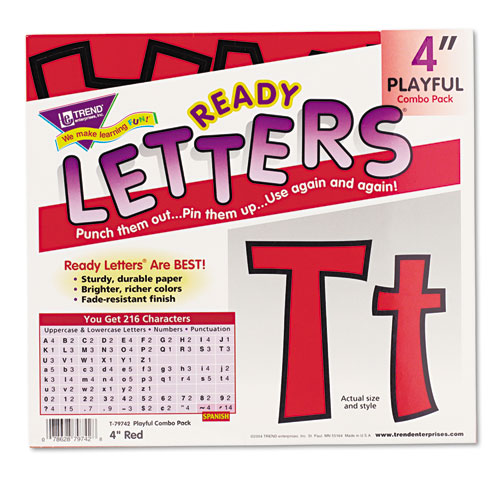"""Ready Letters Playful Combo Set, Red, 4""""h, 216/Set. Picture 1"""