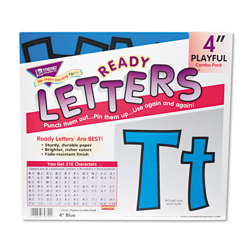 """Ready Letters Playful Combo Set, Blue, 4""""h, 216/Set. Picture 1"""