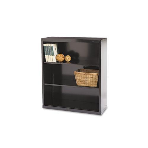 Metal Bookcase, Three-Shelf, 34-1/2w x 13-1/2d x 40h, Black. Picture 1