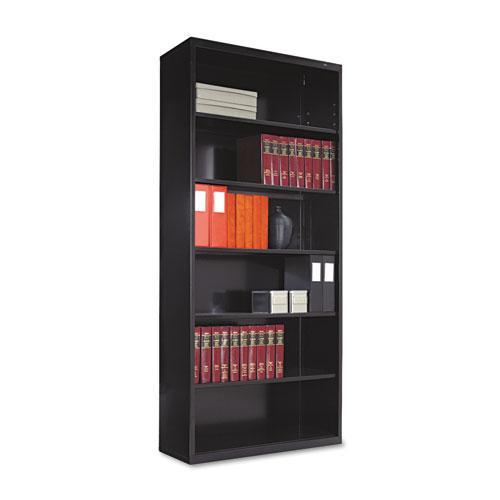 Metal Bookcase, Six-Shelf, 34-1/2w x 13-1/2d x 78h, Black. Picture 1