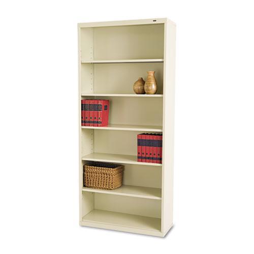 Metal Bookcase, Six-Shelf, 34-1/2w x 13-1/2h x 78h, Putty. Picture 1