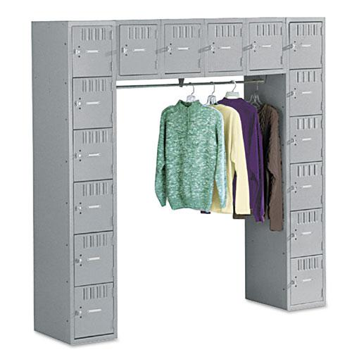 Sixteen Box Compartments and Coat Bar, 72w x 18d x 72h, Medium Gray. Picture 1