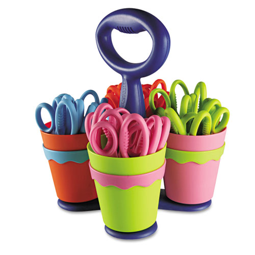 "Scissor Caddy with Kids' Scissors, 5"" Long, 2"" Cut Length, Assorted Straight Handles, 24/Set. Picture 1"
