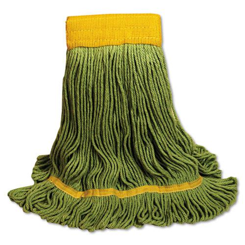 EcoMop Looped-End Mop Head, Recycled Fibers, Large Size, Green, 12/Carton. Picture 1