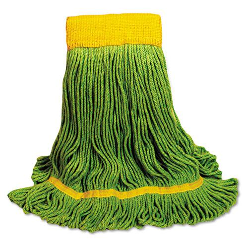 EcoMop Looped-End Mop Head, Recycled Fibers, Medium Size, Green, 12/Carton. Picture 1
