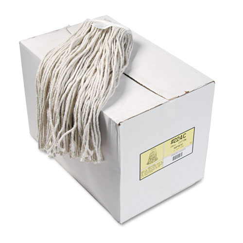 Premium Cut-End Wet Mop Heads, Cotton, 24oz, White, 12/Carton. Picture 1