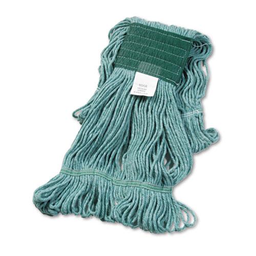 "Super Loop Wet Mop Head, Cotton/Synthetic Fiber, 5"" Headband, Medium Size, Green. Picture 1"