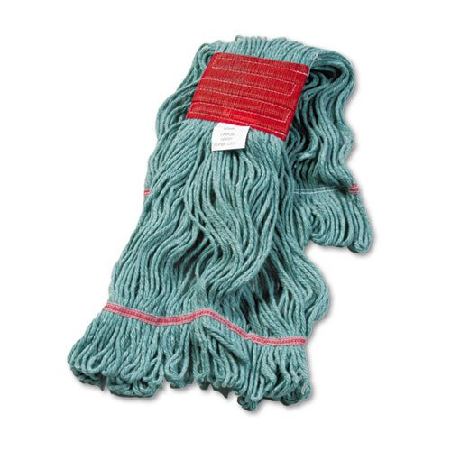 "Super Loop Wet Mop Head, Cotton/Synthetic Fiber, 5"" Headband, Large Size, Green. The main picture."