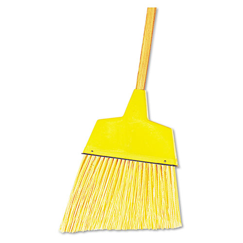 "Angler Broom, Plastic Bristles, 53"" Wood Handle, Yellow, 12/Carton. Picture 1"