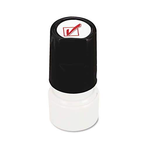 Round Message Stamp, CHECK MARK, Pre-Inked/Re-Inkable, Red. Picture 2